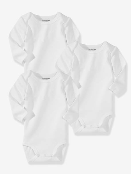 Baby Pack of 3 Organic Collection Long-Sleeved White Bodysuits White pack