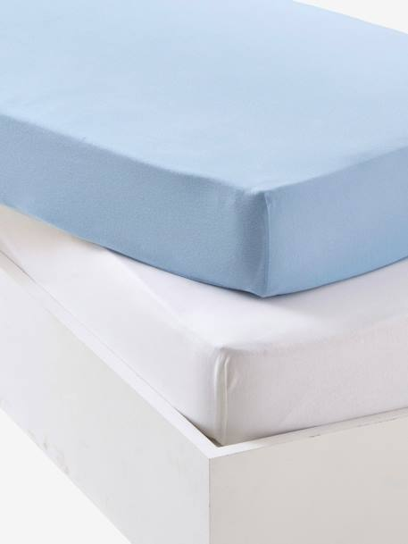 Baby Pack of 2 Fitted Sheets in Stretch Jersey Knit Ash + white+Blue + white+Light pink + white