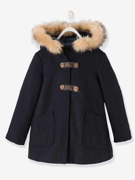 Girls' Wool Mix Coat Navy+Red