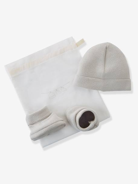 Baby Knit Hat and Ankle Boots, Organic Collection Pale grey+White
