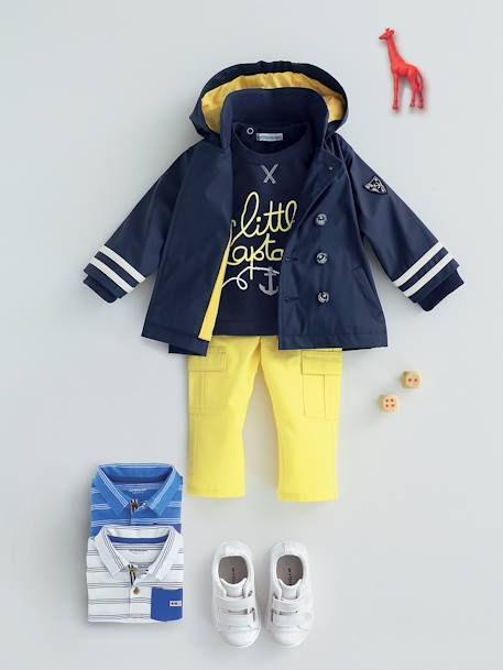 Baby Boys' Lined Raincoat with Hood Ink