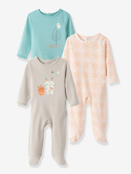 Pack of 3 Baby Printed Pyjamas in Pure Cotton, Back Press-Studs Pale grey