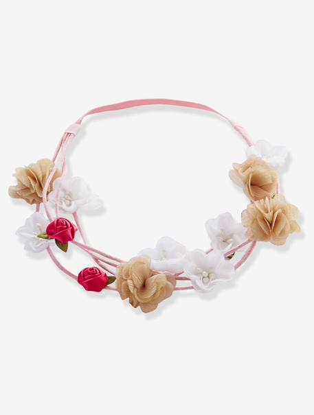 Double Hairband with Flowers Pink