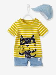 Baby-Outfits-Baby Boys Cap, Striped T-shirt and Fleece Bermuda Shorts