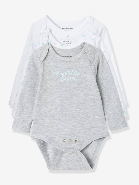 Pack of 3 Adaptable Baby Bodysuits, Stretch Cotton, Long Sleeves. Fish Motif Pale pink+Sea green