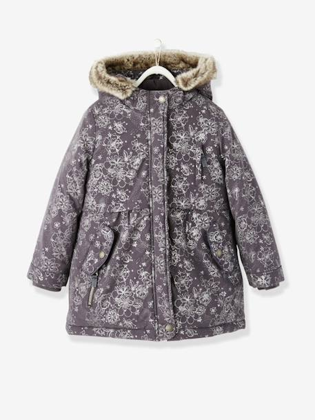 Girls' 3-in-1 Hooded Parka Grey print / ash