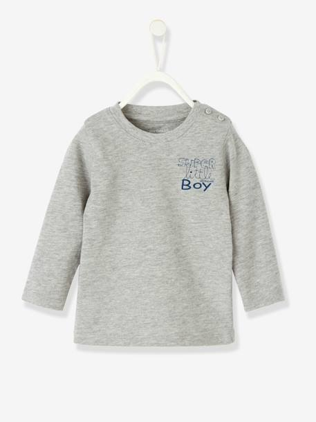 Baby Boys' T-Shirt with Graphic Print Grey marl+Royal blue+White