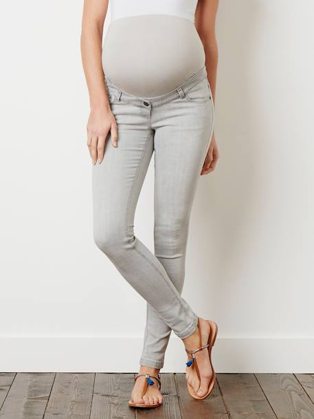 Regular Maternity Skinny Jeans - Inside Leg 30' Double stone+Light grey denim+Untreated