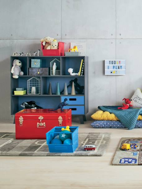 Stackable Metal Storage Box Blue+Red+Storm grey+Yellow