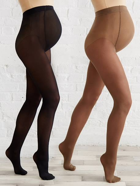 Pack of 2 pairs of opaque Maternity tights Black + tan