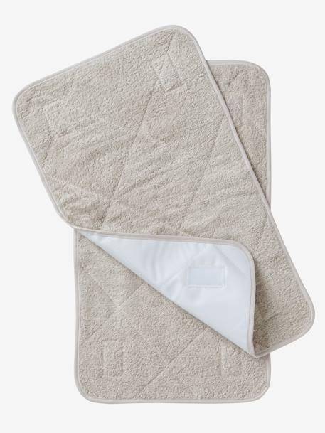 Pack of 2 Changing Pads Taupe grey+White