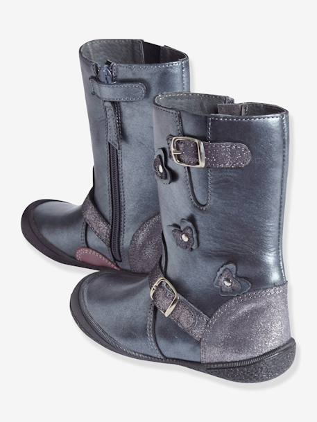 Girls' Leather Boots, Designed for Autonomy Gunmetal+PINK MEDIUM METALLIZED