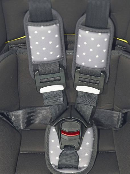 ISOFIX Car Seat - Group 1-2-3 Anthracite suede+Grey/star print