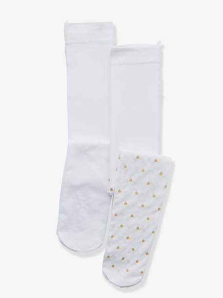 Pack of 2 Baby Girls Tights Plain white + beige polka dot