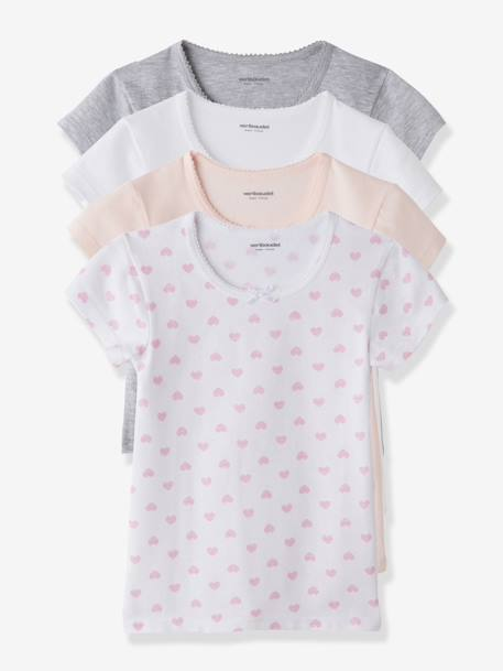 Girls' Pack of 4 Short-Sleeved T-shirts White + pink + light grey