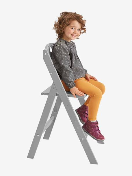 VERTBAUDET MagicPouss Progressive Wooden High Chair Grey+White / natural