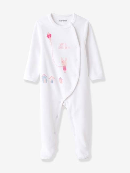 Pack of 2 Baby Printed Velour Pyjamas, Front Press-Studs Printed pale pink