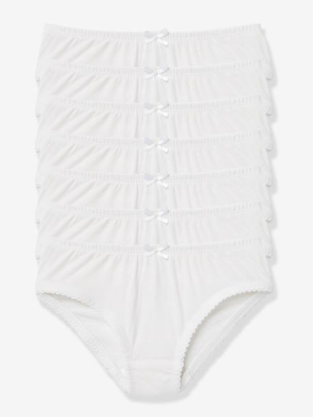 Pack of 7 Girls Briefs White