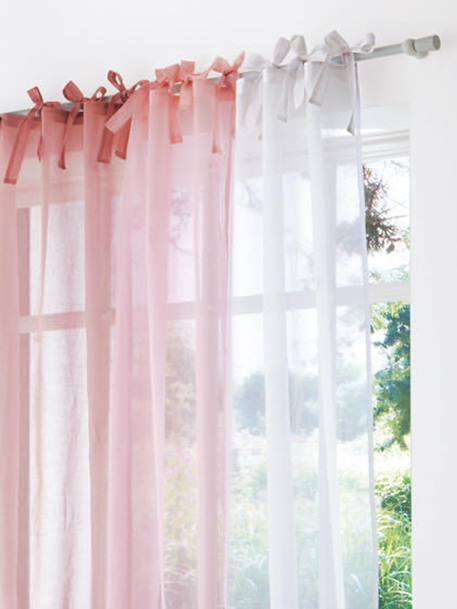 Organdie Tie Top Curtain Pink+White