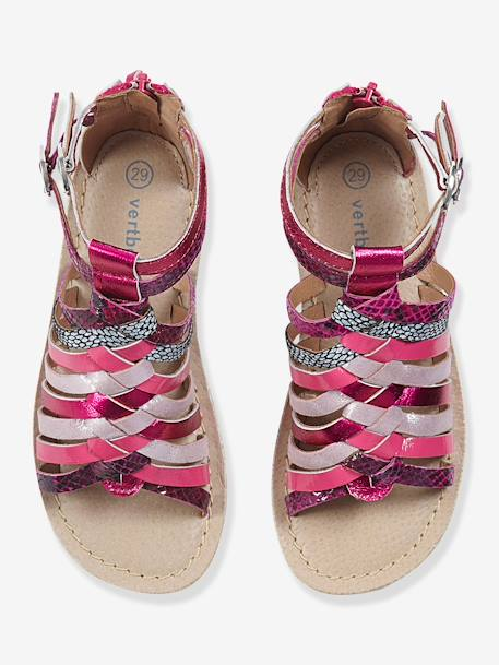 Girls Leather Sandals Fuchsia pink+Light brown+Metallic pale pink+Multicolour silver