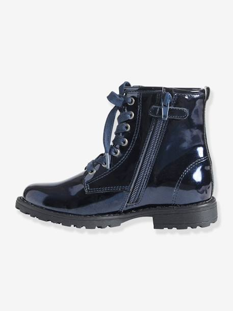 Girls' Lace-Up Ankle Boots Metallic navy
