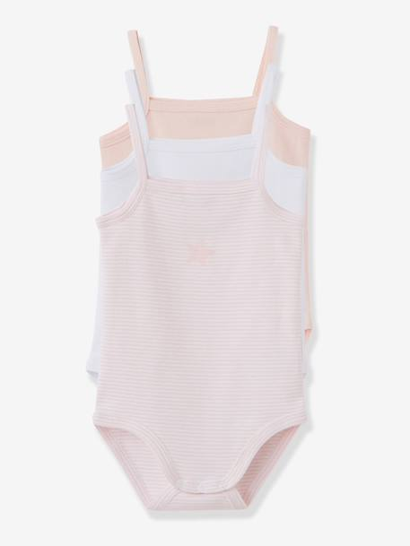 Pack of 3 Coloured Pure Cotton Babysuits With Thin Straps Pale pink
