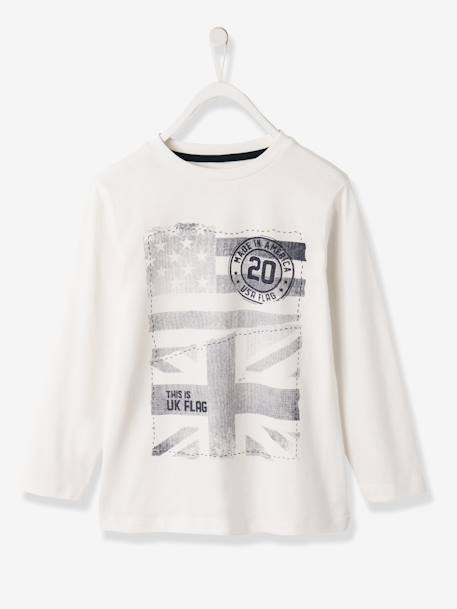Boys Printed Long-Sleeved T-Shirt Ecru+Grey marl