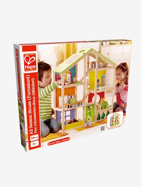 Large Furnished Wooden Dollhouse Set Muticolour