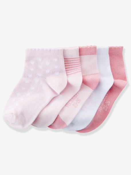 Pack of 5 Pairs of Trainer Socks Grey pack+Greyish light violet striped p+Light pink striped pack