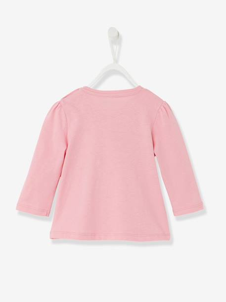 Baby Girls Printed T-shirt Pink+Powder pink+White