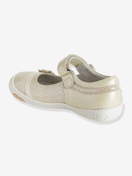 Girls Leather Mary Jane Shoes With Touch N Close Fastening, Designed For Autonomy Blue+Ecru