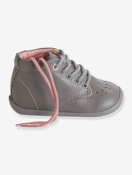 Girls' Leather Ankle Boots, Designed for First Steps Grey / pink+PINK LIGHT ALL OVER PRINTED