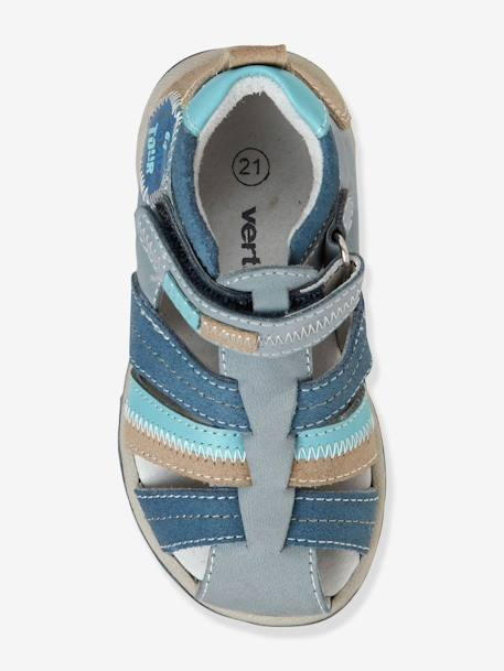 Boys Leather Sandals With Touch N Close Fastening Blue / multi+Brown/blue