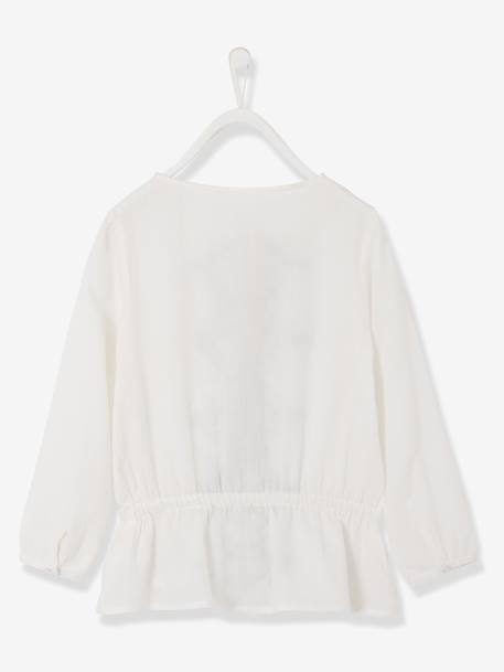 Girls Embroidered Tunic Pale pink+White