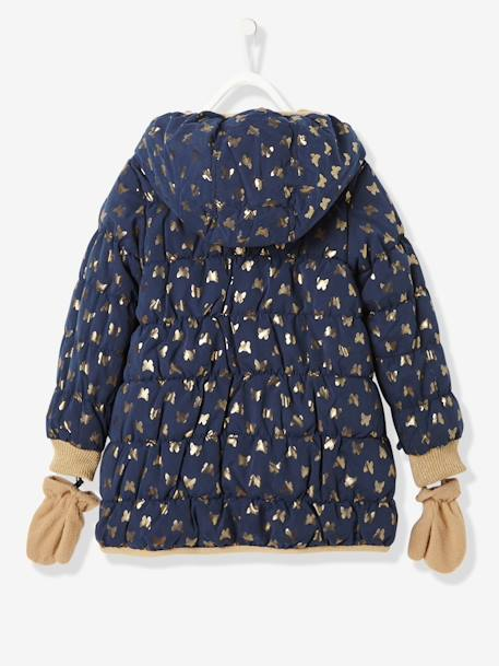 Girls' Reversible Padded Jacket GREY MEDIUM TWO COLOR/MULTICOL+Navy / gold