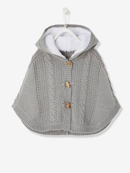 Baby Girls' Hooded Iridescent Knit Poncho RED LIGHT SOLID+Silver grey