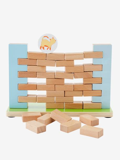 Wooden Build a Wall Game Muticolour