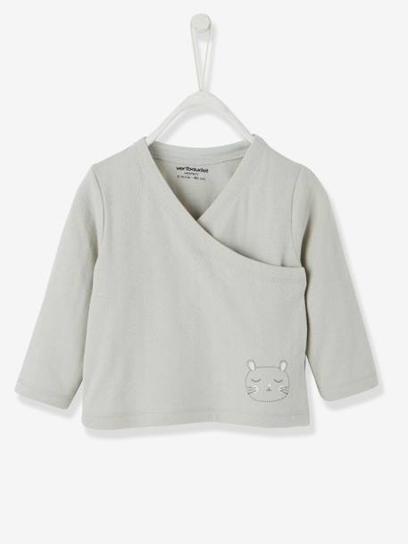 Stylish Baby Cardigan in Pure Organic Cotton GREY LIGHT SOLID WITH DESIGN+WHITE LIGHT SOLID WITH DESIGN