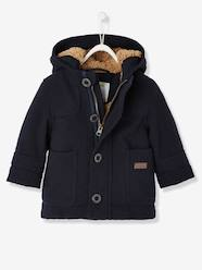 Baby-Outerwear-Baby Boys' Padded Duffle Coat with Warm Lining