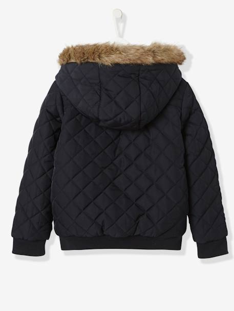 Girls' Reversible Bomber-Style Padded Jacket BLACK DARK SOLID+BLUE DARK SOLID WITH DESIGN+PURPLE DARK SOLID