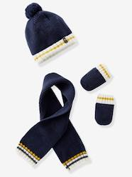 Baby Boys' Lined Knitted Beanie, Scarf & Mittens Set