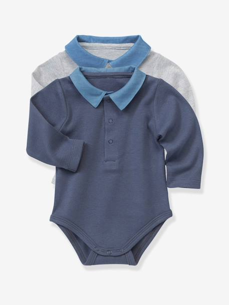 Pack of 2 Baby Bodysuits with Polo Collar Grey marl + blue