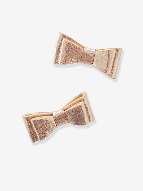 Pack of 2 Clips with Bow PINK MEDIUM SOLID