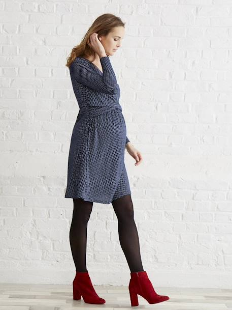 Adaptable Maternity & Nursing Wrapover Dress Black+Navy print