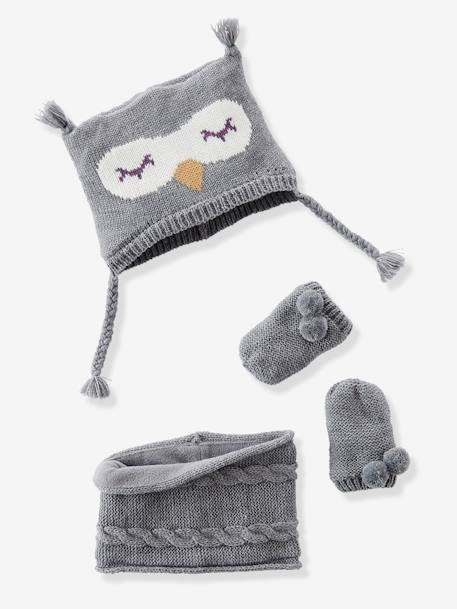 Baby Girls' Beanie, MIttens & Snood Owl Set GREY MEDIUM MIXED COLOR