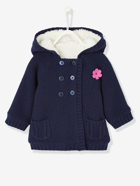 Baby Girls' Long Cardigan with Plush Lining BLUE DARK SOLID+Cerise