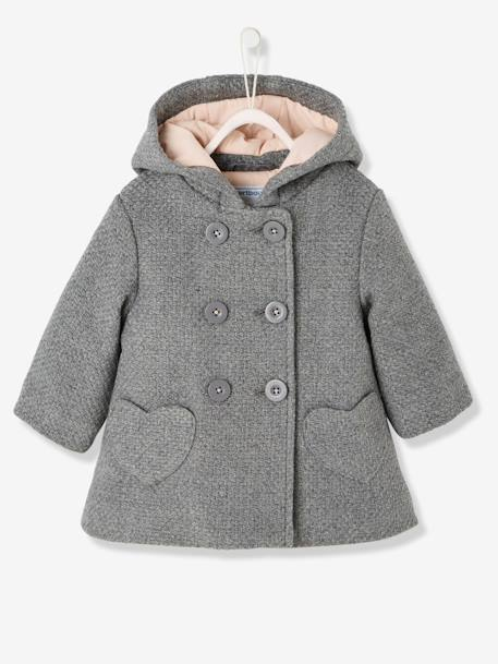 Baby Girls' Woollen Coat GREY MEDIUM MIXED COLOR+PINK DARK SOLID