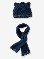 Baby Girls' Diamond Knit Beanie & Scarf, Lined