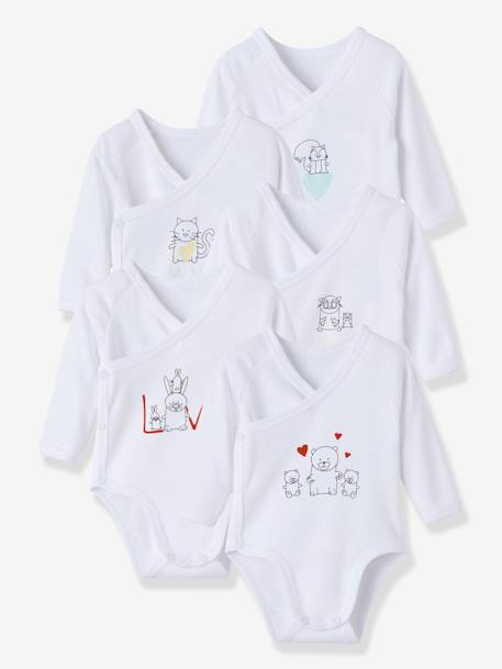 Newborn Baby Pack of 5 Long-Sleeved Bodysuits with Graphic Print Motif pack