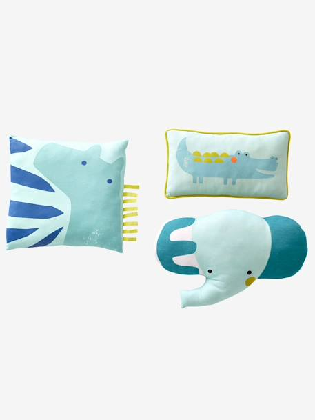 Pack of 3 Animal Cushions GREEN LIGHT 2 COLOR/MULTICOLOR